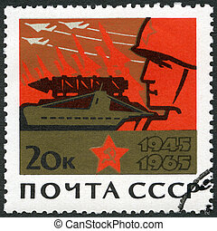 USSR - 1965: shows Soldier and symbols of war, devoted 20th Anniversary of the end of World War II