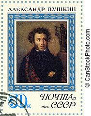 USSR - 1974: shows portrait of Alexander Pushkin (1799-1837), po