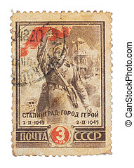 USSR - CIRCA 1945: A Stamp printed in the USSR shows the soldier of Red Army, circa 1945