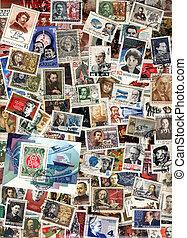 Vertical background of soviet postage stamps