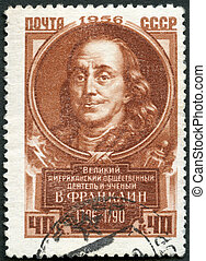 USSR - CIRCA 1956: A stamp printed in USSR shows Benjamin Franklin (1706-1790), series Great personalities of the world, circa 1956
