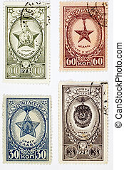 USSR - CIRCA 1958: Set of postage stamps printed in USSR shows Soviet Awards on a white background