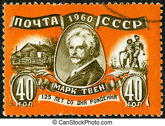 USSR - CIRCA 1960: A stamp printed in USSR shows Mark Twain...