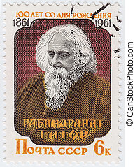 USSR - CIRCA 1961 : stamp printed in USSR shows Rabindranath Tagore - Indian poet, novelist, musician, painter and playwright, circa 1961
