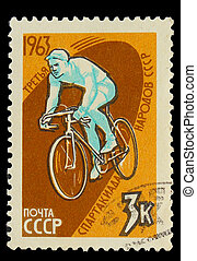 USSR - CIRCA 1963: A stamp printed in USSR, third Olympics ...