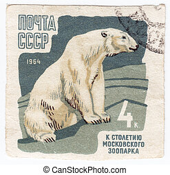 USSR - CIRCA 1964 : Stamp printed in USSR shows Polar Bear ...