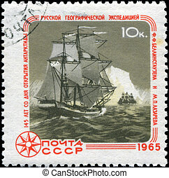 USSR - CIRCA 1965: A stamp printed in USSR, shows 145 years since the discovery of Antarctica, circa 1965
