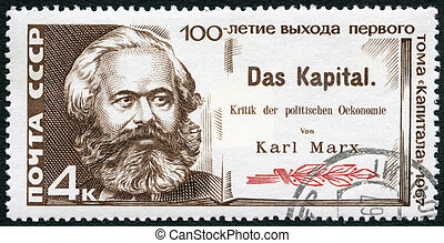USSR - CIRCA 1967: A stamp printed in USSR shows Karl Marx...