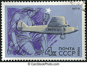 USSR - CIRCA 1969: A stamp printed by USSR shows passenger ...