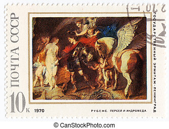 USSR - CIRCA 1970 : stamp printed in Russia shows pic Perseus and Andromeda of painter Rubens, circa 1970