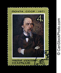 USSR - CIRCA 1971: canceled stamp printed in the USSR, shows famous russian poet Nikolai Nekrasov (1821-1877), circa 1971. vintage post stamp isolated on black background.