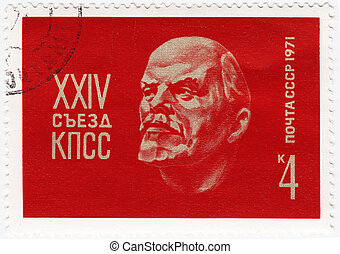 USSR - CIRCA 1971 : stamp printed in USSR shows Lenin - Russian revolutionary  leader, circa 1971