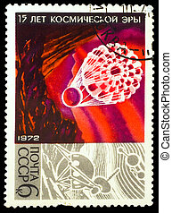 USSR - CIRCA 1972 : stamp printed in USSR, 15 years space age, spaceship landed by parachute to ground at night, circa 1972