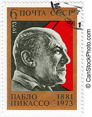 USSR - CIRCA 1973: stamp printed in USSR (now is Russia), Pablo Picasso - great Spanish painter, draughtsman, and sculptor, circa 1973