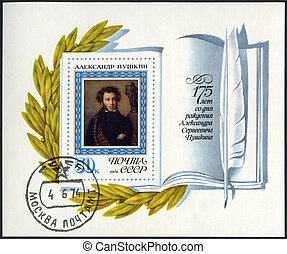 USSR - CIRCA 1974: A stamp printed in USSR shows portrait of Alexander Pushkin (1799-1837), poet, by O.A. Kiprensky, 175th anniversary of the birth of Aleksander S. Pushkin, circa 1974