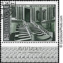 USSR - CIRCA 1975 Staircase - USSR - CIRCA 1975: A Stamp...