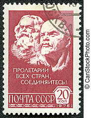 USSR - CIRCA 1976: A Stamp printed in USSR shows Karl Marx and Vladimir Ilyich Lenin, circa 1976