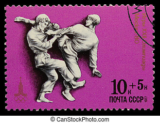USSR - CIRCA 1980: A stamp printed in USSR, Olympic games Moscow 1980 fight sambo judo, circa 1980