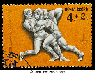 USSR - CIRCA 1980: A stamp printed in USSR, Olympic games ...