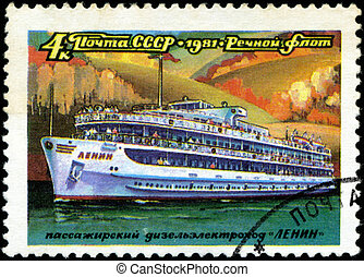 """USSR - CIRCA 1981: A stamp printed in USSR (Russia) shows a ship with the inscription """"Lenin (tourist ship)"""", from the series """"Russian river fleet"""", circa 1981"""
