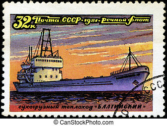 """USSR - CIRCA 1981: A stamp printed in USSR (Russia) shows a ship with the inscription """"Baltysky (freighter)"""", from the series """"Russian river fleet"""", circa 1981"""