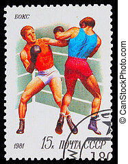 USSR - CIRCA 1981: A stamp printed in USSR, boxing, two ...
