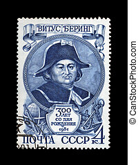 USSR - CIRCA 1981: cancelled stamp printed in the USSR, shows famous russian seafarer Vitus Bering, circa 1981. vintage post stamp on black background.