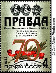 "USSR - CIRCA 1982: A stamp shows image celebrating 70 years of the Communist ""Pravda"" newspaper, circa 1982."