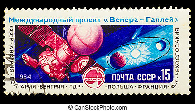 USSR - CIRCA 1984: A stamp printed in USSR, shows Venus Halley's Comet Project, circa 1984