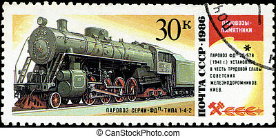 USSR- CIRCA 1986: A stamp printed in the USSR shows the FDP...