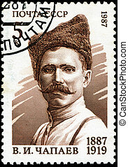 USSR - CIRCA 1987: A stamp printed in USSR shows Vasily Ivanovich Chapayev (1887-1919), Revolution Hero, circa 1987