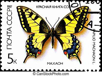 Old World Swallowtail Papilio machaon - USSR - CIRCA 1987: A...