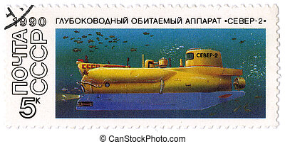 "USSR - CIRCA 1990: A postage stamp printed in USSR shows the submarine ""Sever-2"", circa 1990"