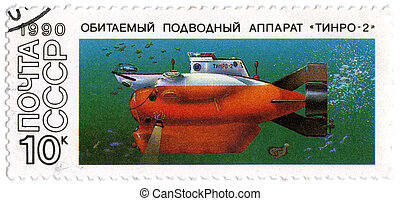 "USSR - CIRCA 1990: A postage stamp printed in USSR shows the submarine ""Tinro-2"", circa 1990"