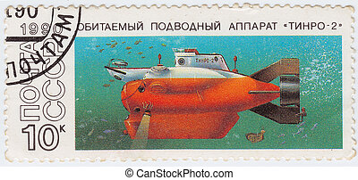 USSR - CIRCA 1990 : postage stamp printed in USSR shows mini explorer submarine Tinro-2, circa 1990