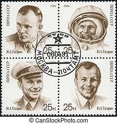 USSR - CIRCA 1991: A stamp printed in USSR shows Yuri A. Gagarin (1934-1968), Pilot, Cosmonaut, Pilot, wearing hat, As civilian, circa 1991