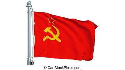 USSR flag waving on white background, animation. 3D...