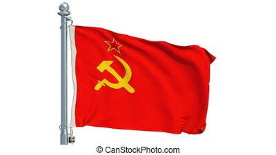 USSR flag waving on white background, animation. 3D...
