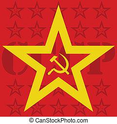 USSR hammer and sickle inside star - Illustration of USSR...