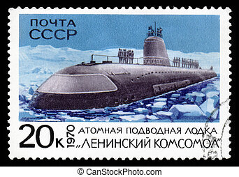ussr post stamp shows atomic submarine