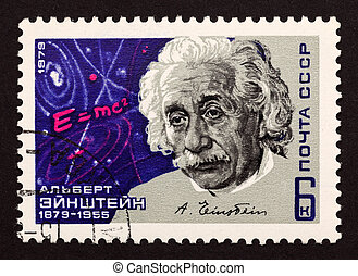 """USSR postage stamp """"Albert Einstein"""". 1979 year. Albert Einstein was a German-born theoretical physicist who developed the theory of general relativity, effecting a revolution in physics."""
