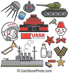 USSR Soviet Union nostalgia travel famous symbols or Russian...