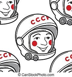 USSR symbol Uriy Haharin spaceman or astronaut seamless...