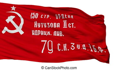 Ussr War Victory Flag, Isolated On White Seamless Loop -...