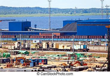 ust-luga., travail, terminal, charbon, commerce, mer, russia., nouveau, port