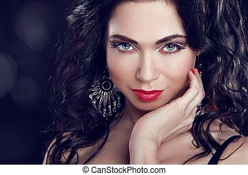 ustalać, do góry., piękny, brunetka, girl., biżuteria, i fason, photo., piękno, wzór, woman.