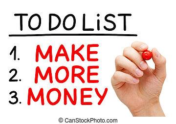 ustalać, więcej, pieniądze, żeby zrobić spis