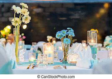 ustawianie, ślub, -, obiad, romantyk