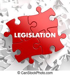 ustawodawstwo, na, czerwony, puzzle.