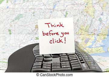 usted, antes, clic, pensar